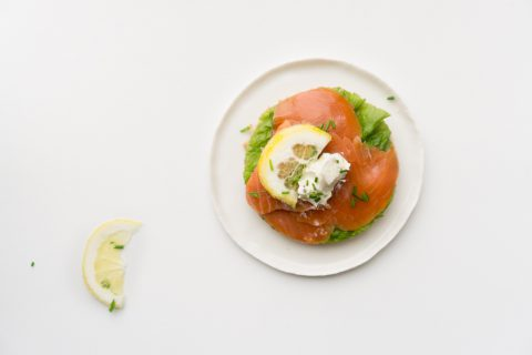 Open faced smoked salmon sandwiches