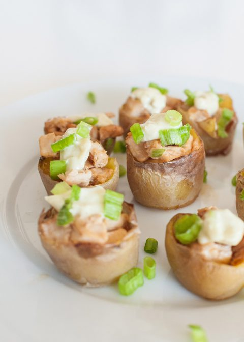Teriyaki chicken cups wasabi mayo