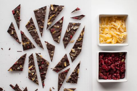 Yuzu and cranberry chocolate bark
